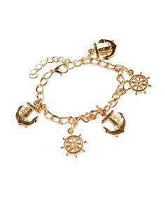 Shipwheel & Anchor Charm Bracelet-Goldtone - Savvyconch
