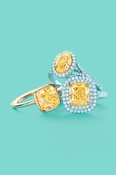 Tiffany & Co. yellow diamond rings, from left: Tiffany Bezet in 18k gold, oval Fancy Vivid  in platinum and gold and Tiffany Soleste® in platinum and 18k gold. #TiffanyPinterest