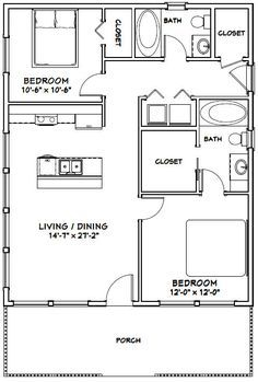 28x34 House 28x34h1d 952 Sq Ft Excellent Floor Plans Tiny House Floor Plans Small House Floor Plans Small House Plans