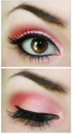 Try this in Merle Norman! Eyeshadows in Ice, Pink Blink and Rosewater. ProPen Eyeliner in Sharp Black. Finish with Xtra Length Mascara in Xtra Black.