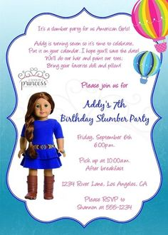American Girl Saige Doll of the Year Printable Invitation {Made by a Princess} #americangirlsaige  #favoritethingsgiveaway