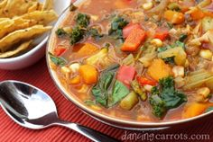 Weight Loss Soup Mexican recipe with cabbage, zucchini, red pepper, mexican seasonings, greens, and squash.