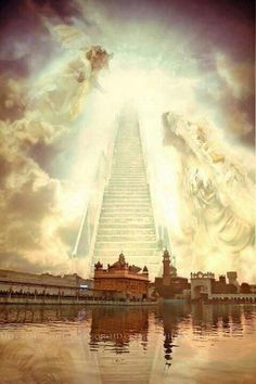 Stairs to sach khand Spiritual Photos, Religious Photos, Religious Symbols, Guru Nanak Ji, Nanak Dev Ji, Way To Heaven, Heaven On Earth, Sikh Quotes, Gurbani Quotes