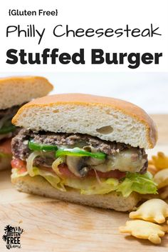 Philly Cheesesteak Stuffed Burger with provolone, mushrooms, onions, and jalapenos is better! Perfect for the grill, summer picnic and all burger lovers! Video Instructions included! via @GLUTENFREEMIAMI