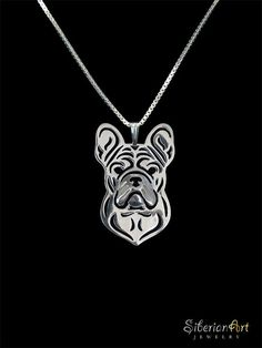 French Bulldog jewelry sterling silver by SiberianArtJewelry