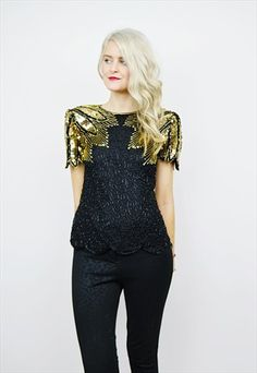VINTAGE 80'S SILK EMBELLISHED BEADED PARTY TOP R6B157