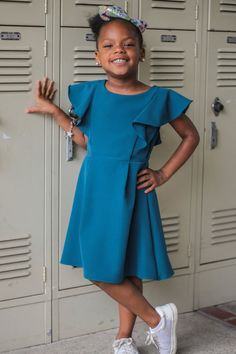 94d18bdfbd Teal Flutter Skater Dress with Pleated Skirt Girls 2-12   Plus 14x-18x
