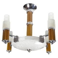 Large French Art Deco Modernist Skyscraper Design Chandelier, Glass Chrome Wood