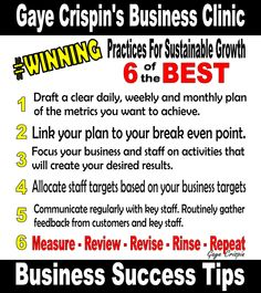 Gaye Crispin's Business Clinic -  6 Winning Business Practices for Sustainable Growth