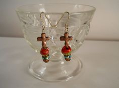Cross Dangle Earrings / Vintage Glass & by PiccoloPattys on Etsy