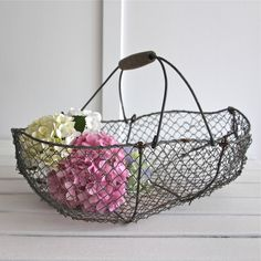 vintage french farmhouse wire oyster harvest basket bayside vintage