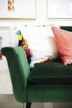 Fun Pillows  Who says bright colors are reserved for the warm months? When it comes to stylish pillows, we believe punchy colors and styles should always be in your couch rotation — especially when the weather prediction is gloomy.  Photo by Zeke Ruelas via Emily Henderson