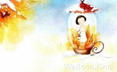 Kim Jong Bok Illustrations(Vol.03) - Cartoon Cute Fairy Girl  - Art Illustration : Cute little girl in a Fairy Lamp 4