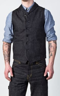 Pike Brothers 1908 Miner Vest Hemp Denim 14oz