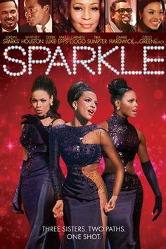 Sparkle is a 2012 musical film dir.by Salim Akil, pro.by Stage 6 Films, released in 2012 by TriStar.It is about 3 sisters from Harlem who form a group in the '50s.Theshowtakesplacein Detroit in the '60s.It stars Jordin Sparks,Drek Luke,Whitney Houston,Mike Epps,Cee Lo Green,Carmen Ejogo,Tika Sumpter, Tamela Mann,and Omari Hardwick.It has songs by Curtis Mayfield & by R. Kelly. Sparkle also marks Whitney Houston's 5th/final film role before herdeath on Feb.11, 2012, 3 months after filming…