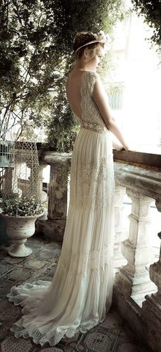 Vintage Lihi Hod BacklessWedding Dress 2014