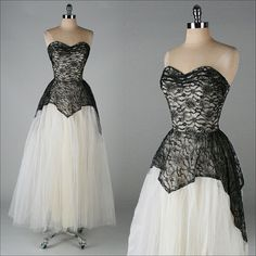 vintage 1950s dress . black lace . white by millstreetvintage, $165.00