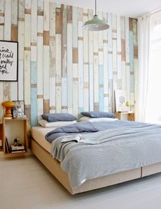Bedroom-love the calming colours, quirky wallpaper & floating bedside tables!