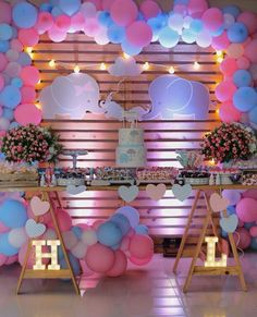 37 New Ideas Baby Shower Ideas Safari Products Gender Party, Baby Gender Reveal Party, Baby Girl Shower Themes, Baby Boy Shower, Gender Reveal Party Decorations, Shower Bebe, Beautiful Baby Shower, Elephant Baby Showers, Elephant Party