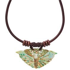 ade Butterfly Necklace  Symbol of transformation of the self! Genuine jade, associated with good fortune, is reborn as the beautiful, winged butterfly that graces this handcrafted bracelet—intricately carved, and suspended on a wood-bead-accented, silk-wrapped cord. Bead-and-loop closure
