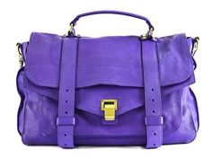 BAG,  PROENZA SCHOULER,  PS1, Purple rain, purple leather, details in yellow metal, 35x26x17cm, dustbag, small damage on corner.