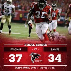 falcons win in overtime! Falcons Vs Saints, Falcons Rise Up, Nfc South, Matt Ryan, Atlanta Falcons, Football, Baseball, Georgia, Fans