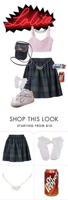"""""""hey lolita"""" by angelsigh ❤ liked on Polyvore featuring Olympia Le-Tan, Christian Dior, Coach, NIKE, cute, girly, rosy, lolita and nymphet"""