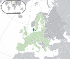 Danmarks placering(mørkegrøn)–på det europæiske kontinent(lysegrøn ogmørkegrå)–i EU(lysegrøn) — [Forklaring]