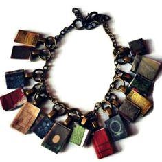 Book bracelet Book charm vintage books library by JicsisJewellery