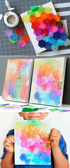 Summer Tie Dye Ideas & Crafts for the Kids - upcycled gift wrap tissue paper to make this tie dye art on canvas. Perfect kid or teen craft at home. Canvas Art Projects, Kids Canvas Art, Art Projects For Teens, Small Canvas Art, Easy Canvas Painting, Canvas Crafts, Painting For Kids, Crafts For Teens, Diy Painting