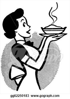 Clip Art - A black and white version of a vintage cartoon of a woman holding a hot pie. Vintage Labels, Vintage Ads, Vintage Images, Vintage Woman, Retro Ads, Vintage Cartoons, Silhouette Clip Art, Mid Century Modern Art, Vintage Advertisements