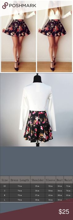 """Spring Fling"" Dress  White long sleeves on top with beautiful black & pink floral on bottom.  Dresses Long Sleeve"