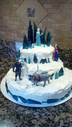 'Frozen' cake, inside was blue-velvet cake.