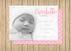 Baby Girl BIRTH ANNOUNCEMENT  Double Sided  Newborn by babybaloo