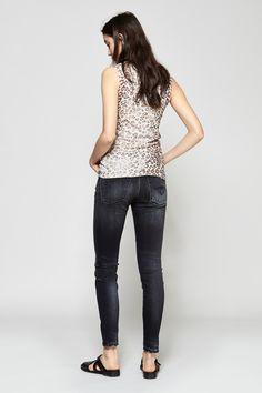 Raquel Allegra Muscle Tee - Natural Leopard | R13 High Rise Jean | Rachel Comey Chapin Sandals | MYCHAMELEON.COM.AU