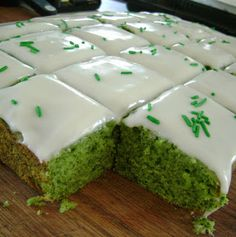 Jo and Sue: Turkish Lemon Spinach Cake (a.k.a. St. Patrick's Day cake). A bright green cake that owes its colour to the equivalent of 8 cups of spinach pureed into a smooth consistency. Use baby spinach leaves to keep the flavour undetectable.