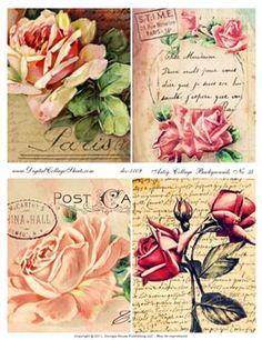 Artsy Collage Backgrounds #35 - Vintage Rose Backgrounds