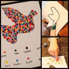 Family Fingerprints Dove Painting