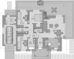 Rzut parteru projektu AJR 03 wersja z garażem 2 Bedroom House, Dressing Room Design, Garage House, Floor Plans, Farmhouse, House Design, Flooring, How To Plan, Architecture