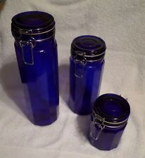 blue canister jars
