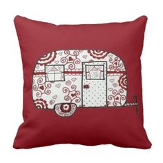 Sewing Pillows Retro Red Black and White Glamper Throw Pillow - Shop Retro Red Black and White Glamper Throw Pillow created by TWArts. Personalize it with photos Red Throw Pillows, Decorative Throw Pillows, Vintage Embroidery, Embroidery Patterns, Hand Embroidery, Sewing Patterns, Camping Pillows, Lazy Daisy Stitch, Sewing Pillows