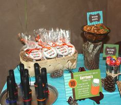 """CAMPING PARTY - parse out the s'mores """"kits"""" in a basket"""