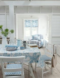 C o t t a g e B l u e, blue chair that we could slipcover for fall and winter.