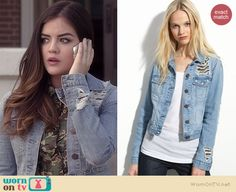 Aria's ripped denim jacket on Pretty Little Liars.  Outfit Details: http://wornontv.net/35590/ #PLL