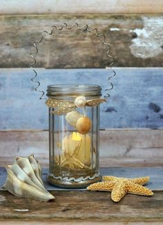 how to make a beachy votive with a few dollar store treasures