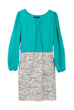 Slub Skirt With Peek-A-Boo Sleeve Dress (Big Girls)