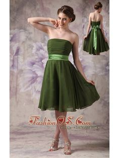 Olive Green Chiffon Strapless Short Cheap Bridesmaid Dress with Sashes  http://www.fashionos.com  http://www.facebook.com/quinceaneradress.fashionos.us  This feminine strapless dress is just perfect for any formal function. Crafted from classic chiffon it features a ruched bust line and a taffeta sash with a bow on the back of the waist. The lightweight skirt falls in soft pleats and folds about your thighs and twirls and sways when you move.