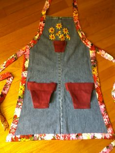 Garden apron made from recycled jeans.