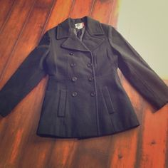 Black AZ Arizona Wool Pea Coat - XS  Black pea coat with pockets and eight buttons. All buttons are black for some reason last pic some look red.     Sorry  Trades. Like the item? Make an OFFER!!  Arizona Jean Company Jackets & Coats Pea Coats