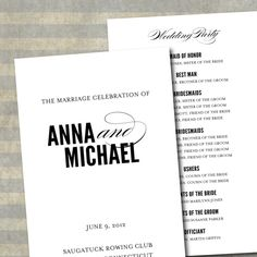 Printable Wedding Program Classic Script Collection by Type Ten on @etsy #black #white #elegant #modern #diy